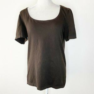 Wolford Size Large Top Brown Scoop Neck Cotton